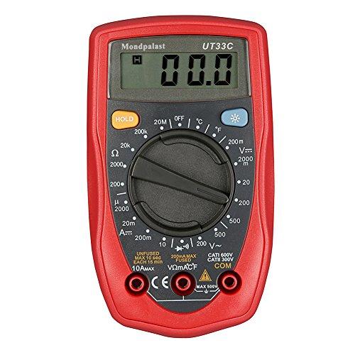 Mondpalast @ Palma Multimetro Digitale Multimeter Voltmetro Amperometro AC DC Volt Ohm Temperatura Metro Tester per misurare di corrente continua tensione continua e alternata resistenza passante