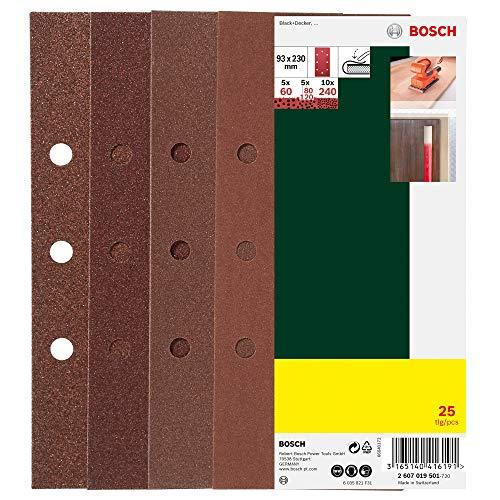 Bosch 25-teiliges Schleifblatt-Set 93 x 230 mm, für Schwingschleifer, 93 x 230 mm, 8 Löcher (Black + Decker), Körnung 60, 80, 120, 240, 2607019501