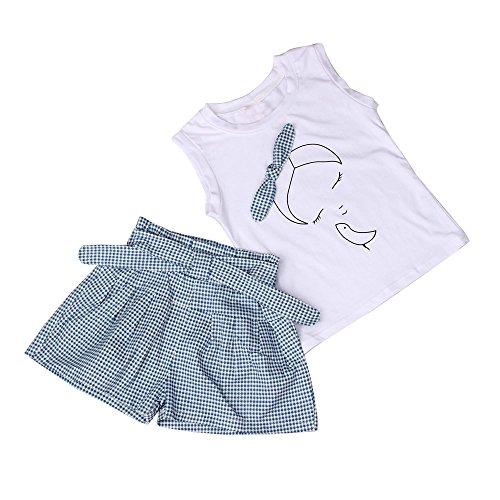 Fossen Ropa Niña Verano 2019-2 3 4 5 6 7 años - Color sólido Camiseta sin Mangas con Patrón + Pantalones Cortos a Cuadros - Moderna Conjunto de Dos Piezas