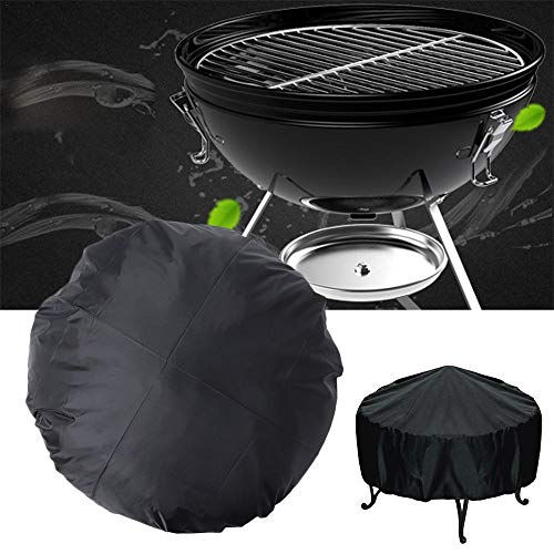 Xinrangxin Heavy Duty Gas Grill Cover, 112Cm Outdoor Round Waterproof Grill Cover, Dust Cover, Terrace Fire Pit Cover, with UV Resistant and Rip Proof