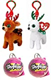 Christmas Gift Bundle! Ty Beanie Babies Tinsel & Peppermint Clips PLUS TWO Shopkins Christmas Baubles!