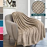 PAVILIA Premium Flannel Fleece Throw Blanket for Sofa Couch | Taupe Waffle Textured Soft Fuzzy Throw | Warm Cozy Microfiber | Lightweight, All Season Use | 50 x 60 Inches