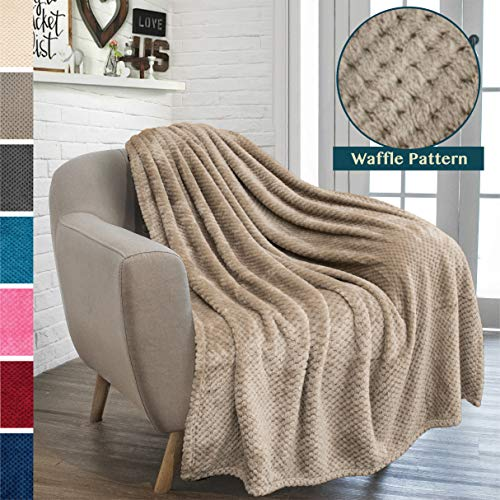 PAVILIA Premium Flannel Fleece Throw Blanket for Sofa Couch   Taupe Waffle Textured Soft Fuzzy Throw   Warm Cozy Microfiber   Lightweight, All Season Use   50 x 60 Inches