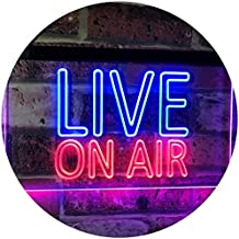 On Air Live Recording Studio Video Room Dual Color LED Neon Sign Blue & Red 600 x 400mm st6s64-i3064-br