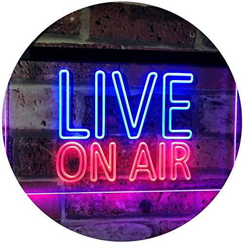 ADV PRO On Air Live Recording Studio Video Room Dual Color LED Barlicht Neonlicht Lichtwerbung Neon Sign Blau & Rot 400 x 300mm st6s43-i3064-br