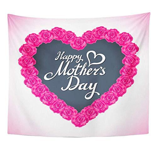 Rojo abstracto rosa rosa día de la madre corazón hecho de rosas púrpuras forma floral blanca tapiz hermoso decoración del hogar colgante de pared 150x100 cm