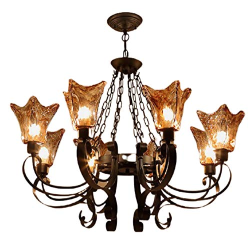 luz de techo LCSD Lámpara americana de hierro forjado lámpara de sala de estar personalidad simple lámpara de vidrio creativa villa iluminación atmosférica 920 * 650 (mm)