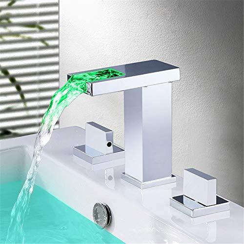 JIANGYE plafondmontage waterval bekken in zink mixer Tap RGB LED Light Bathroom Basin Pool met temperatuur sensor chroom Brass Fitting Drie Set waterkracht stroom