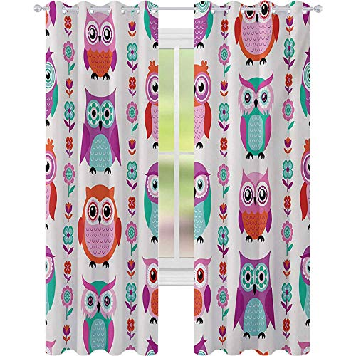 bedroom curtains, Adorable Owls in Vertical Line Flower Strings Vibrant Spring Colors Art, W52 x L63 Window Curtain Panel for Nursery Room, Orange Fuchsia Seafoam