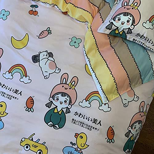 CYGJ CYGJThree-piece or four-piece set of soft and comfortable cotton beddingPink-rainbow2.0m four-piece set