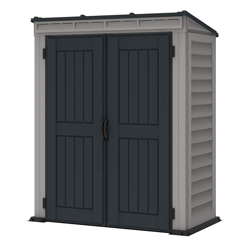 Caseta de jardín de PVC YardMate Pent Plus 153 x 92 cm color gris claro y oscuro: Amazon.es: Jardín