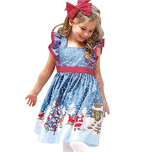 Kleider für Mädchen Festlich Lange Ärmel V-Ausschnitt Weihnachten Santa Striped Patchwork...