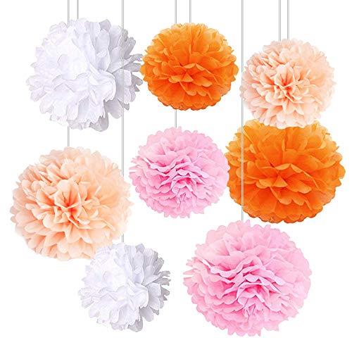 Kbnian Pom Poms di Carta Velina Decorativo Palla Fiore Pom Pom per Decorazione per il Compleanno Decorazione Della Festa Nuziale Matrimoni Battesimo Anniversario (8 Pezzi)