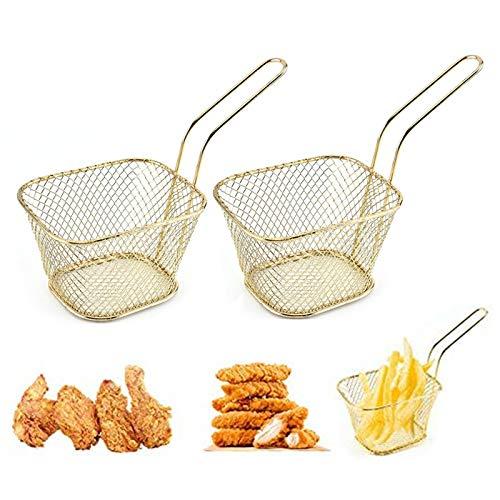Mini Edelstahl Frittierkörbchen Quadratischer Pommes-Frites-Korb Edelstahl Lebensmittel Display Korb Mini-Körbe Für Pommes Frites Ideal Für Pommes Frites, Hühner, Zwiebelringe,Garnelen-2Stück(Golden)