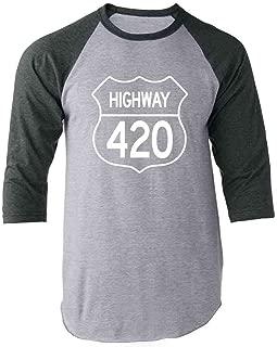 Pop Threads Highway 420 Pot Smoking Weed Marijuana Cannabis Raglan Baseball Tee Shirt