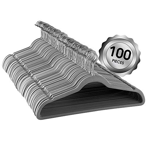 Elama 100 Piece Set of Velvet Slim Profile Heavy Duty Felt Hangers with Stainless Steel Swivel Hooks in Gray