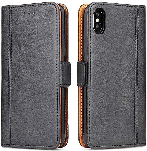 Bozon iPhone X/XS Hülle, Leder Tasche Handyhülle für iPhone X/XS Schutzhülle Flip Wallet mit Ständer & Kartenfächer/Magnetverschluss (Schwarz)