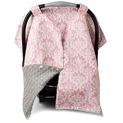 Car Seat Canopy and Nursing Cover Up with Peekaboo Opening  Damask Champagne