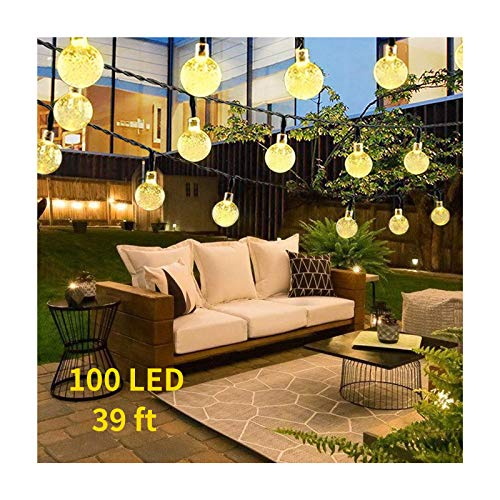 Solar String Lights Garden, 39ft 100 LED Outdoor Lights Hanging Solar Lights, Waterproof Crystal Ball Decorative Lights, Fairy Lights for Indoor/Outdoor, Gazebo, Christmas, Party (Warm White)