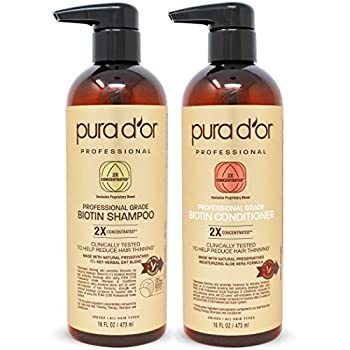 PURA D OR Professional Grade Anti-Hair Thinning 2X Concentrated Actives Biotin Shampoo & Conditioner  16oz x 2  No Sulfates Clinically Tested All Hair Types Men & Women  Packaging Varies