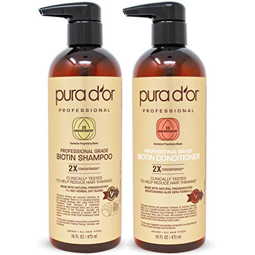 PURA D'OR Professional Grade Anti-Hair Thinning 2X Concentrated Actives Biotin Shampoo & Conditioner (16oz x 2), No Sulfates, Clinically Tested, All Hair Types, Men & Women (Packaging Varies)