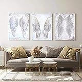 YDH Cuadro de pared moderno con alas de ángel y plumas, lienzo impreso en la pared para decoración de salón / 45 x 65 cm x 3 piezas, sin marco (30 x 40 cm x 3 cm)
