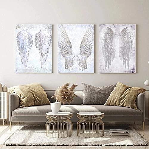 YDH Cuadro de pared moderno blanco con alas de ángel y plumas,...