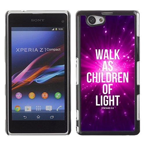 DREAMCASE Bibelzitate Bild Hart Handy Schutzhülle Schutz Schale Case Cover Etui für Sony Xperia Z1 Compact D5503 - Lebt als Kinder des Lichts - ephensians 5: 8