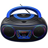 Stereo Portable Kids CD Player Boombox with LED Light,Support Bluetooth & FM Radio & USB & Aux-in & Headphone Jack,MP3/CD Player
