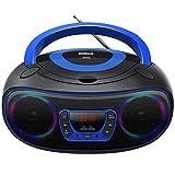 Radio CD,Radios portátiles Boombox, Reproductor de CD MP3 estéreo Portátil con Bluetooth, USB, Entrada Aux, Conector para Auriculares (WCD9949)