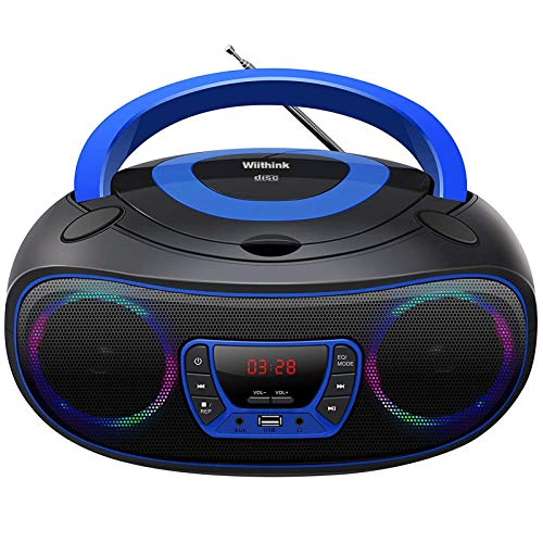 Lecteur CD Portable Boombox, Bluetooth | Radio FM | USB | Lecture MP3 | Compatible CD-R/CD-RW, Radio CD Player (WCD-9949)