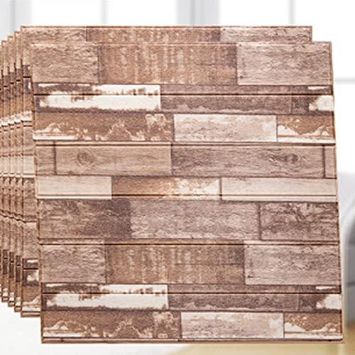 WSWJDW Pegatinas de pared 3D de grano de madera, paneles, papel tapiz autoadhesivo de espuma de PE para el fondo de la habitación, pegatinas de decoración del hogar anticolisión, 20,70 cm x 70 cm 10