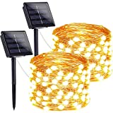 LORRYTE 2-Pack Solar Lights Outdoor (Ultra-Bright & Super Durable), 200 LED Solar String Lights Outdoor Waterproof Copper Wire 8 Modes Fairy Lights for Patio Garden Tree Wedding Party (Warm White)