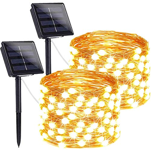 LORRYTE 2-Pack Outdoor Solar Christmas Lights (Ultra-Bright & Super Durable), 200LED Solar String Lights Outdoor Waterproof Copper Wire 8 Modes Fairy Lights for Christmas Party Garden (Warm White)