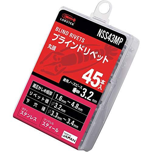 ロブテックス(エビ) ブラインドリベット エコパック ステンレス/スチール 4-3 (45本入) NSS43MP