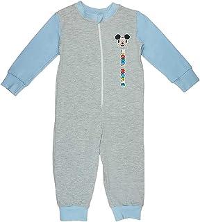 Kleines Kleid Jungen Schlafoverall Pyjama Einteiler Onesie Schlaf-Anzug Kinder-Strampler-Anzug mit Mickey Mouse von Disney in Größe 92 98 104 110 100% Baumwolle Jumpsuit