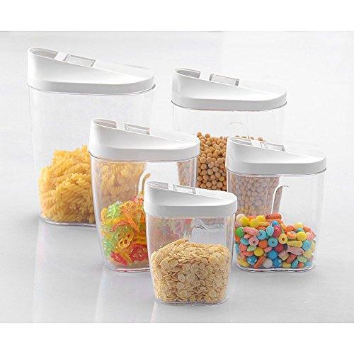 Gearmax 5 Pièces Transparent Boîte Alimentaire Hermétique de Rangement Conservation à Céréales Fruits Secs