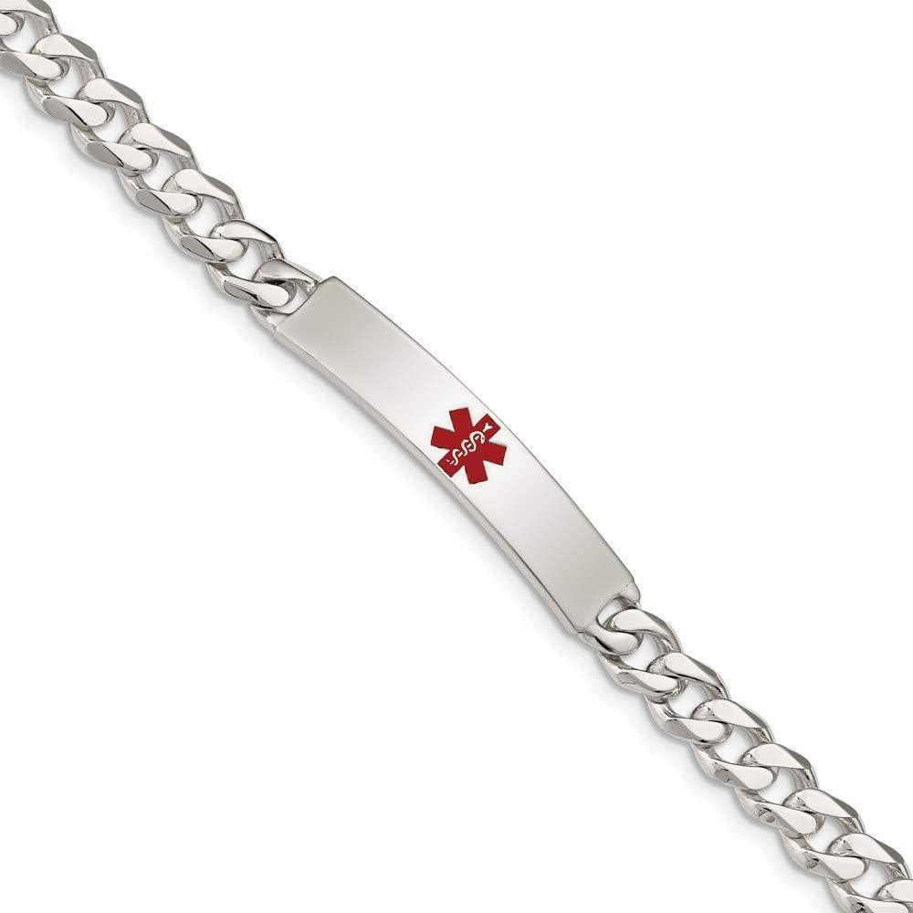 Sterling Silver 35% OFF Polished Medical Curb 7.5in mart ID Link 6.5 Bracelet
