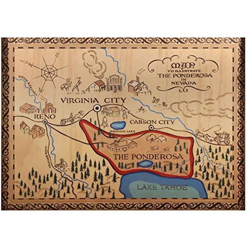 LIUXR Bonanza Die Ponderosa Ranch Karte Film Leinwand Malerei PosterWandkunstDrucke Für ZuhauseWanddekoration -20X28 Zoll Kein Rahmen 1 Stck