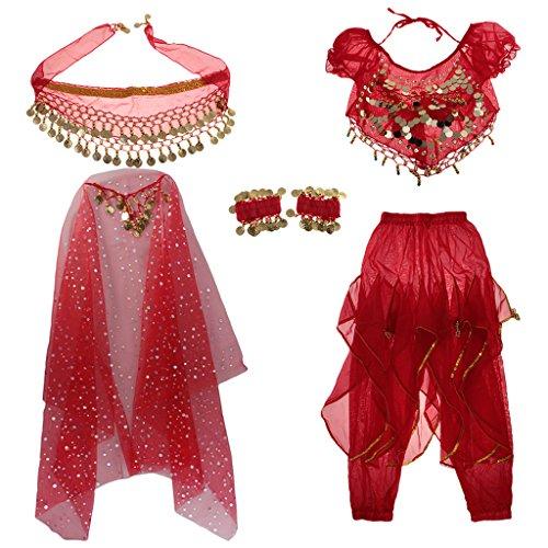 Sharplace Tenue Déguisement de Danseuse Orientale pour Enfant Fille Cosplay Halloween Carnaval - Rouge, XS