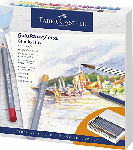 Faber-Castell 114616 Aquarellstifte Goldfaber Aqua, 38er Atelierbox inklusive Zubehör, bunt