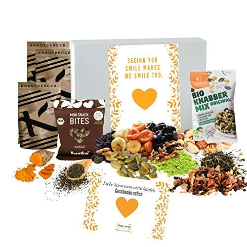 gesunde Snacks in der Geschenkbox I verschiedene gesunde Snacks zum probieren I Geschenkidee mit gesunden Snacks l LEBENSMITTELRETTER Box I keine Lebensmittel wegwerfen