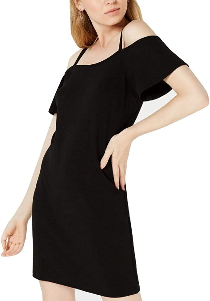 bar III Womens Solid Cold Shoulder Dress