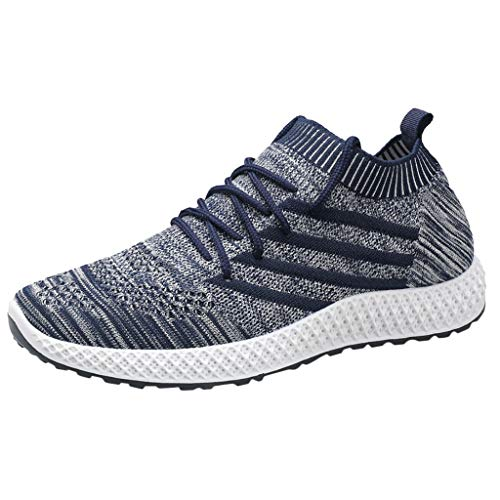 HDUFGJ Herren Sneaker Sportschuhe atmungsaktiv Freizeitschuhe Mode Laufschuhe Outdoor Schuhe Flache Schuhe42(Blau)