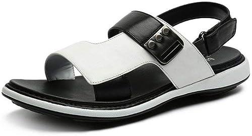 Hhor Sandales d'été, Nouvelle Version coréenne Masculine, Sandales 2018, Tendance de la Mode en Cuir, Chaussures de Plage en Plein air, Souliers Tout-Aller pour Hommes (Couleur  Blanc, Taille  42)