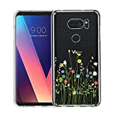 LG V35 ThinQ Hülle, Unov Clear mit Design Soft TPU Stoßdämpfung Slim Embossed Pattern Protective Back Cover for LG V30S ThinQ V30 Plus V30 (Flower Bouquet)