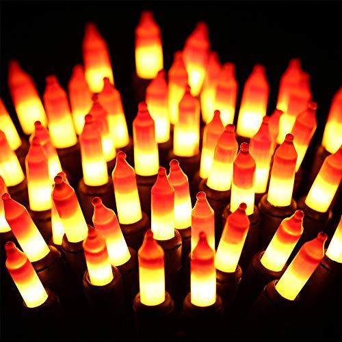 Halloween String Lights - 24ft 100 Incandescent Orange&Yellow Mini Bulbs Lights, Halloween Lighting Decor for Outdoor&Indoor Use, Fairy Garden, Yard, Home, Party, Holiday, Halloween Decorations