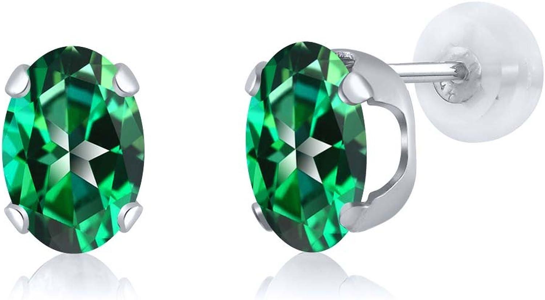 2.64 Ct Rainforest 14K White gold Earrings Natural Topaz Cut by Swarovski