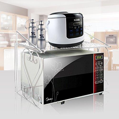 FullBerg Weiß Mikrowelle Regal für Küche und Arbeitsplatte - 55x46x36cm Küchenregal - Mikrowellenständer Metall Gewürzregal - belasted bis 20KG