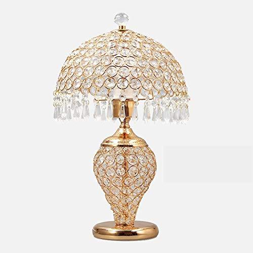 Mode Individualiteit Creatieve Kristallen tafellamp Europese tafellamp Slaapkamer Nachtkastje Woonkamer Luxe decoratie Creatieve bureaulamp Bruiloft tafellamp (Kleur: Goud)